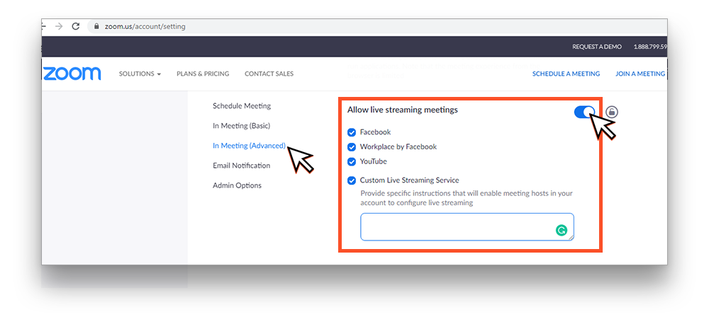 Allow live streaming meetings in Zoom