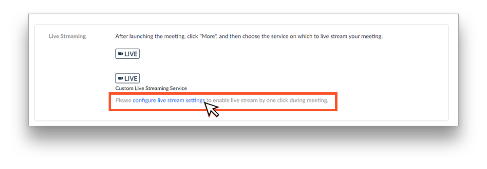 Configure live stream settings in Zoom