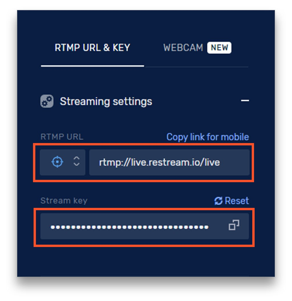 Restream Stream Key and RTMP URL